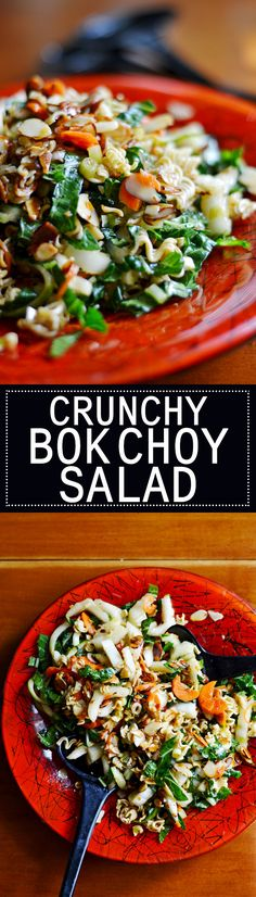 Crunchy Bok Choy Salad with sugared ramen noodles and almonds, this easy recipe comes together in 15 minutes.
