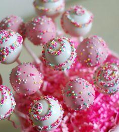 Sweet Cheeks Tasty Treats -cake pops -cupcakes -more! Girly Cakes, Cute Cakes, Valentine Cake, Valentines, Cupcakes Lindos, Pink Cake Pops, Cake Pop Designs, Swirl Cake, Sprinkle Party