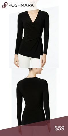 Coming Soon Anne Klein Faux Wrap Top Anne Klein's essential top boasts a faux-wrap design anchored by a slide buckle at the waist.  Surplice neckline  Pullover styling  Faux-wrap front with buckle detail at left waist  Fitted  Unlined  Hits at hip  Polyester/elastane  Machine washable  Imported Anne Klein Tops