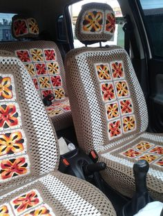 Crochet Bedspread Patterns Part 3 - Beautiful Crochet Patterns and Knitting Patterns Crochet Car, Crochet Home, Artisanats Denim, Crochet Bedspread Pattern, Knitting Patterns, Crochet Patterns, Car Seat Cushion, Yarn Bombing, Crochet Accessories