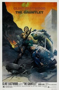 """MP435. """"The Gauntlet"""" Movie Poster by Frank Frazetta (Clint Eastwood 1977) / #Movieposter"""