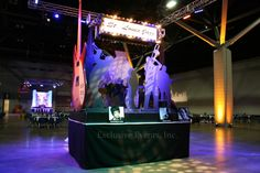 St. Louis Themed Centerpieces: Life size musicians on the St. Louis Jazz piece, as well as a huge guitar by Exclusive Events, Inc.