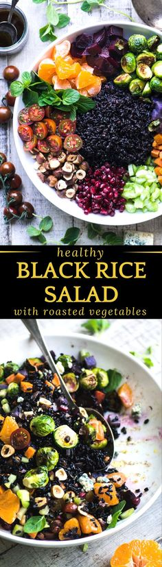 Black Rice Salad with Roasted Vegetables ~  this clean-out-the-fridge salad can be changed up in countless ways depending on what you have around.   *Sub feta for vegan cheese or omit to make vegan!