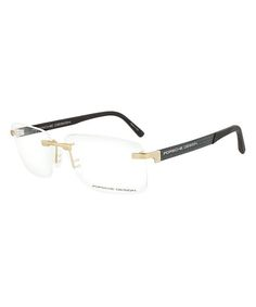 50a427cf9de Gold   Gray Rimless Rectangular Eyeglasses Optical Frames