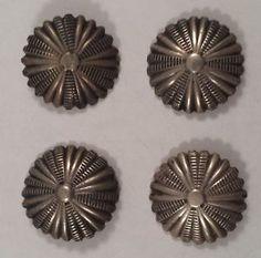 Vintage Navajo Indian Sterling Silver Concho Stampworks Buttons Set of 4 | eBay