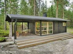 - Not a container house, but prefab. Sunhouse Modern Prefab Homes. Designer: Kalle Oikkari, architect Living area: Floor area: Dimensions: m x m Modern Tiny House, Tiny House Living, Tiny House Design, Cheap Tiny House, Design Homes, Cheap Houses To Build, Two Bedroom Tiny House, Small Modern Cabin, Modern Small House Design