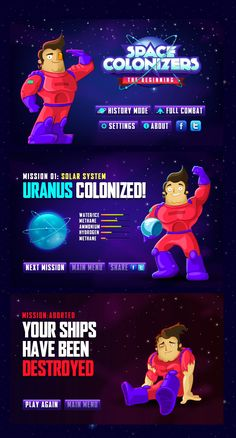 Logo, Spaceships, Planets, Characters and UI designs For Apptouch Games' Space Colonizers for iPad.