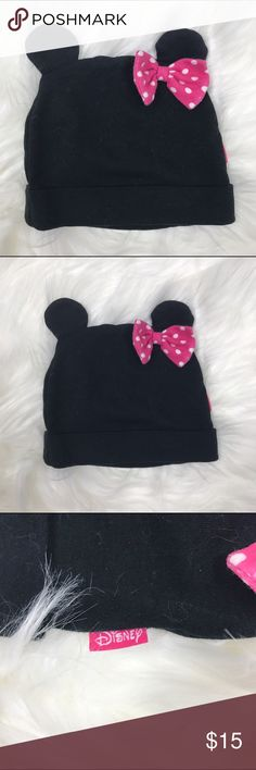 The Disney Store Infant Minni Mouse Beanie Cap NS The Disney Store Disney Baby Minnie Mouse beanie cap with pink polka dot bow. 100% cotton Disney Accessories Hats