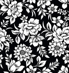 black and white flowers Decorative seamless floral wallpaper Stock Photo - 20299024