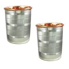 Steel Copper Luxury Drinking Glass Cup-Tumbler Handmade 250 ml/8.79 OZ Set Of 2 #VisvabhavanahMart