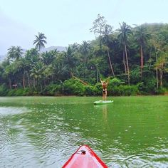 Trying to do some stand up kayak yoga in de rain!  #yogagoals #yogachallenge #rainforest #yogatravel #supyoga