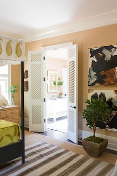 Bring Nature Indoors - Idea House Master Bedroom by Lauren Liess Interior Door Styles, Room Interior Design, Interior Doors, Craftsman Style Doors, Lauren Liess, Southern Living Homes, Coastal Living, Paint Colors For Home, Master Bedroom