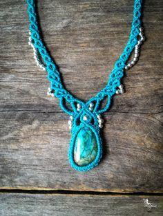READY TO SHIP Macrame Boho chic Labradorite necklace jewelry elven bohemian micro macramé micro-macrame tribal