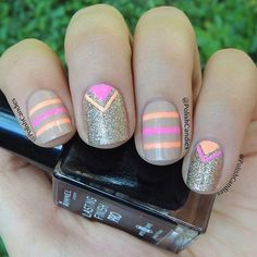 Nude Nails with Neon Stripes and Triangles