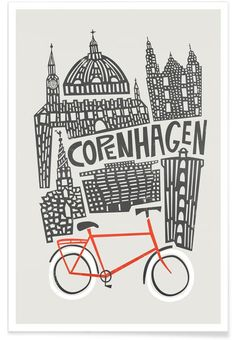 Copenhagen als Premium Poster von Fox & Velvet Pen & Paper, Denmark Travel, City Maps, Iphone Skins, Iphone 8, Vintage Travel Posters, Grafik Design, Anime Comics, Graphic