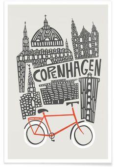 Copenhagen als Premium Poster von Fox & Velvet Doodle, Pen & Paper, Denmark Travel, Iphone Skins, Iphone 8, Vintage Travel Posters, Grafik Design, Copenhagen, Framed Art Prints