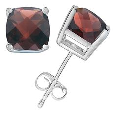 14K White Gold Garnet Stud Earrings (1.80 CT ; 6 MM Cushion Cut). 30 Day Easy Returns. Jewelry Gift Box Included. 14K White Gold. Save 10% by entering code 'iSHOPVIR'. The Garnet stones are Heat treated. The total carat weight of the 2 stones is 1.80 CT.
