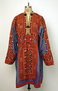 Wedding shirt Date: 20th century Culture: Middle Eastern (Baluch) Medium: silk, cotton, metallic thread Dimensions: Length at CB: 41 1/2 in. (105.4 cm)