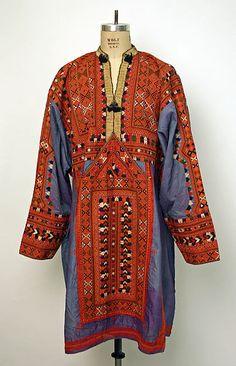 Wedding shirt Date: 20th century Culture: Middle Eastern (Baluch) Medium: silk, cotton, metallic thread Dimensions: Length at CB: 41 1/2 in. (105.4 cm)