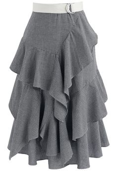 Passion Tiered Ruffle Hem Skirt in Black Gingham - New Arrivals - Retro, Indie and Unique Fashion