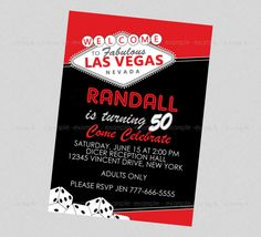 Colourful Las Vegas Welcome Sign Theme Parties Card Invitations