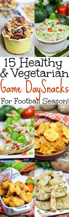 15 Healthy & Vegetarian Game Day Snacks for football season! Great easy clean eating recipes for Super Bowl Party food or regular football season. Includes appetizers like Buffalo Cauliflower Bites, Baked Sweet Potato Chips, Honey Nut Crock Pot Chex Mix, Greek Yogurt Guacamole and healthier potato skins. Look no further for your parties food. Vegan and gluten free options for healthy game day snacks. / Running in a Skirt