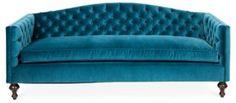 "Victoria 87"" Tufted Velvet Sofa, Teal | Lounge Around | One Kings Lane"