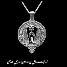 Clan Crest Large Clan Badge Sterling Silver Pendant