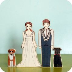 Custom Wedding Cake Topper Couple with Two Pets by urastarhouse