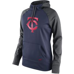 Minnesota Twins Nike Women's All Time Performance Pullover Hoodie - Navy/Charcoal - $55.99