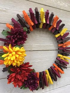 Fall clothespin wreath /fall wreath /clothespin wreath /front | Etsy