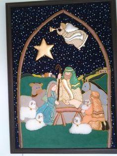 Risultati immagini per pesebres bordados Christmas Wall Hangings, Felt Christmas Decorations, Christmas Nativity Scene, Christmas Angels, Christmas Art, Christmas Ornaments, Nativity Crafts, Holiday Crafts, Christian Christmas