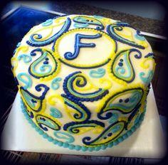 Paisley Cake blue and yellow baby shower    www.twentyonecakes.com