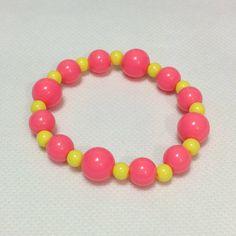 Mix Bubblegum Pearl Bracelet in Neon Pink x Neon Yellow from Pastel Skies - Lolita Desu Pearl Bracelet, Beaded Necklace, Beaded Bracelets, Pastel Sky, Neon Yellow, Lolita Fashion, Bubble Gum, Pearls, Pink