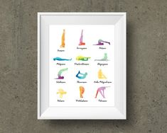 12 Basic Poses Yoga Print, Yoga Asana Poster, Yoga Gift, Meditation Printable, Yoga Flow, Yoga Art, Chakra Art, Yoga Sequence, Yoga Studio Chakra Art, Chakra Symbols, Yoga Art, Printable Art, Printables, Quality Photo Prints, Yoga Studio Decor, Symbols And Meanings, Yoga Gifts