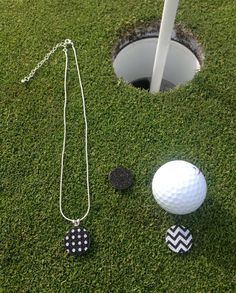 Golf Gift for Women - Golfing Jewelry - 3 Golf Flat Ball Markers   1  Necklace - Black • Chervon • Dots - Mark Putts on the Green - Magnetic 61befe46a069