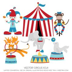 Circus Digital Clipart Clip Art Illustrations by MissTiina Circus Birthday, Circus Theme, Boy Birthday Parties, Circus Circus, Circus Party, Carnival Classroom, Carnival Themes, Circus Illustration, Art Illustrations