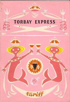 Vintage Daphne Padden artwork for Torbay Express menu Vintage Menu, Vintage Books, Vintage Ads, Matisse, Graphic Design Illustration, Illustration Art, Surface Design, Tarot, Tout Rose