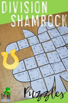 St. Patrick's Day Division Shamrock Puzzles - These puzzles are perfect for math centers during St. Patrick's Day week. Each of the three clover puzzles will have students answer 48 different division problems with facts 1-12. They're perfect for third or fourth grade students. Use them for early or fast finishers, review, enrichment, GATE, critical thinking, centers, test prep, and more! Click through to pick yours up today! $ {3rd or 4th graders}