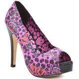 Hot pink print peep-toe heel