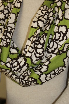 Green Brown and White Floral Infinity by LanesCustomCreations, $18.00