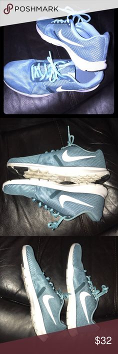💕Nike, EUC, like new! Size 9. Nike flex bijoux 💕Nike, EUC, like new! Size 9. Nike flex bijoux blue kinda teal color. These look amazing with jeans or leggings! These are a re-Posh because my shoe collection is out of control and I'm wanting navy instead. 💕 My loss is your gain! Only a tiny bit of dirt on them. Extremely minimal. Nike Shoes Athletic Shoes