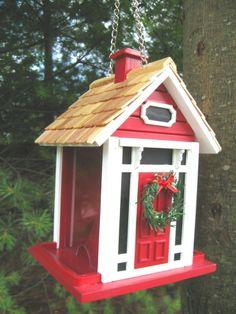 christmas bird houses | Christmas Cottage Bird Feeder (Red) | Bird Houses, I love um!