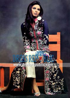 navy floral suit styled anarkali