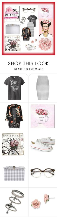 """roses outfit"" by nadialestari99 ❤ liked on Polyvore featuring Bailey 44, Miss Selfridge, Oliver Gal Artist Co., Converse, Edie Parker and 1928"