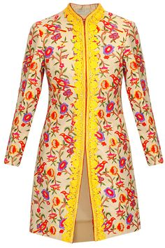 Beige floral and bird embroidered motifs long jacket available only at Pernia's Pop Up Shop..#perniaspopupshop #shopnow #festive #mynahdesignsbyreynutaandon#clothing #newcollection #happyshopping