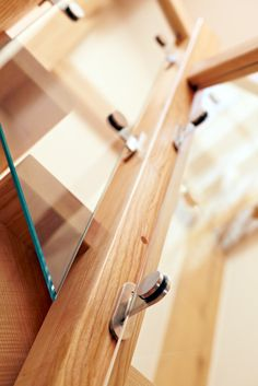 best of both - the attention to detail is second to none glass and oak in perfect harmony Oak Framed Buildings, Centre Pieces, Case Study, Beams, Landing, Architecture Design, Detail, House, Centerpieces