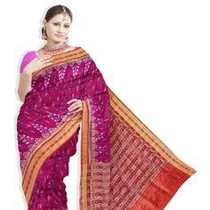 Lovely wedding purple odisha sambalpuri pure silk saree