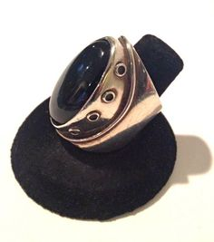 Sterling Silver and Onyx Modernist Ring Mid by WhirleyShirley, $149.00
