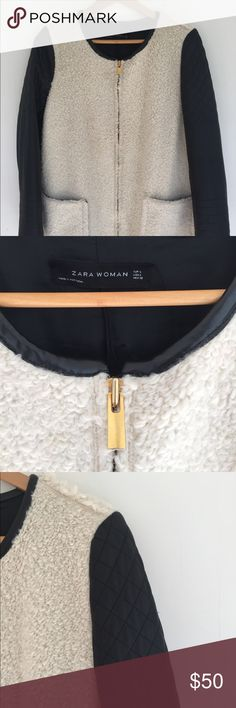 Zara fall jacket Super cool/chic. All synthetic materials. Coat is in great shape. Listed as L but mediums could def pull it off. I usually wear a medium in coats (5'9). Zara Jackets & Coats Pea Coats